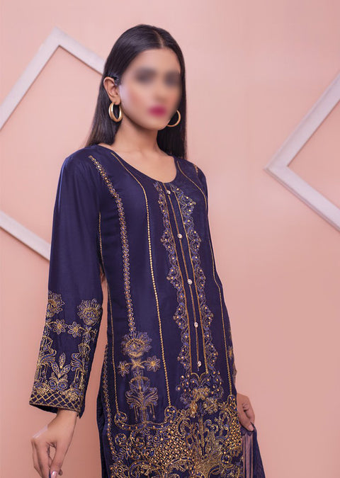 HK41 Navy Embroidered Linen Suit - Memsaab Online