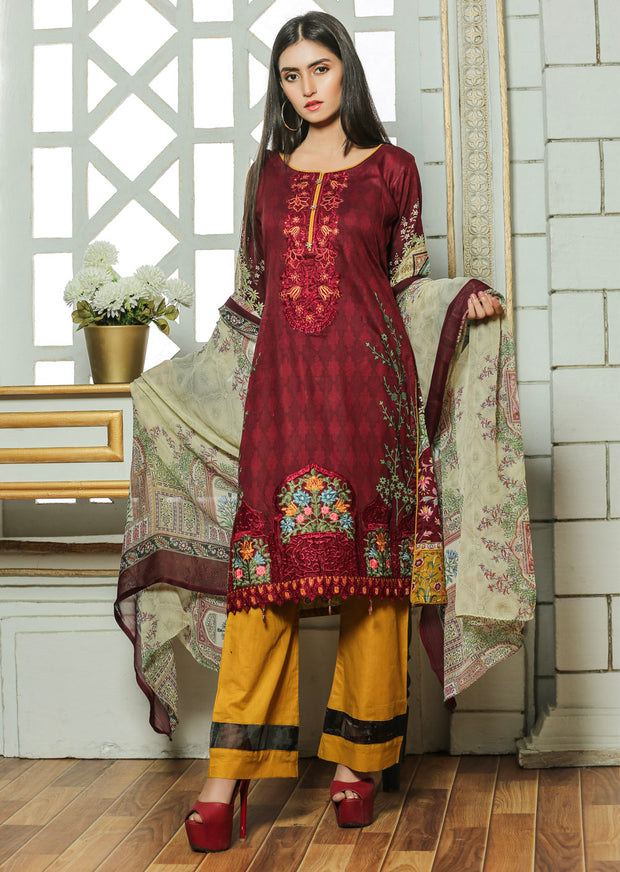 13A Ubrooj - Maroon - Unstitched Embroidered High Quality Lawn Suit - Memsaab Online