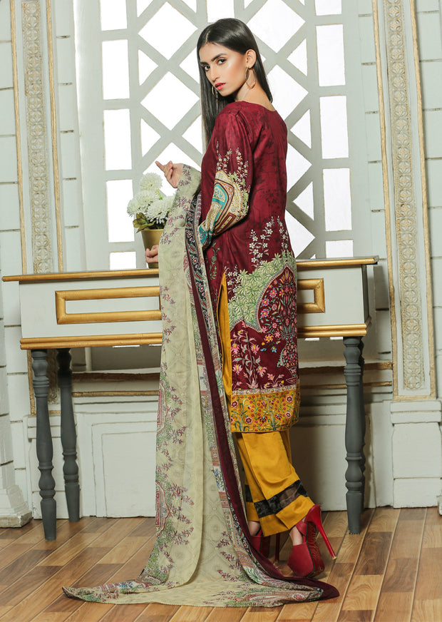 13 Ubrooj by Memsaab - Maroon - Pakistani Readymade Embroidered Lawn Suits - Memsaab Online