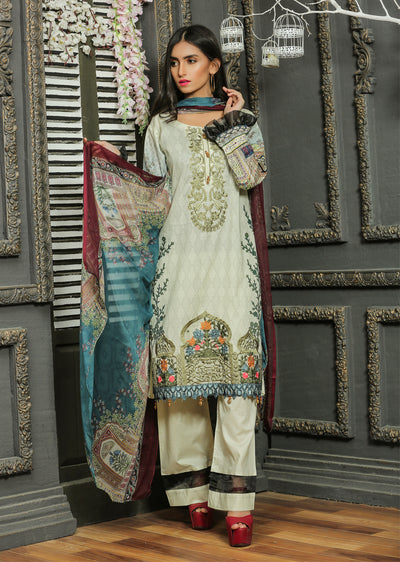 13 Ubrooj by Memsaab - Mint - Pakistani Readymade Embroidered Lawn Suits - Memsaab Online