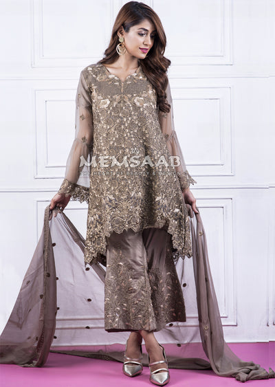 Readymade - Olive - Embroidered Tail Chiffon Suit - Memsaab - Memsaab Online