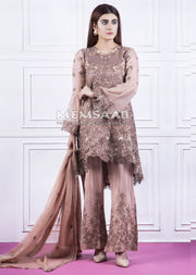 Readymade - Pink - Embroidered Tail Chiffon Suit - Memsaab - Memsaab Online