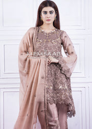 1447 - Readymade - Pink - Embroidered Tail Chiffon Suit - Memsaab - Memsaab Online