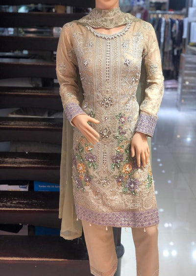 PS1470 Passion - Readymade Gold Chiffon Suit - Memsaab Online