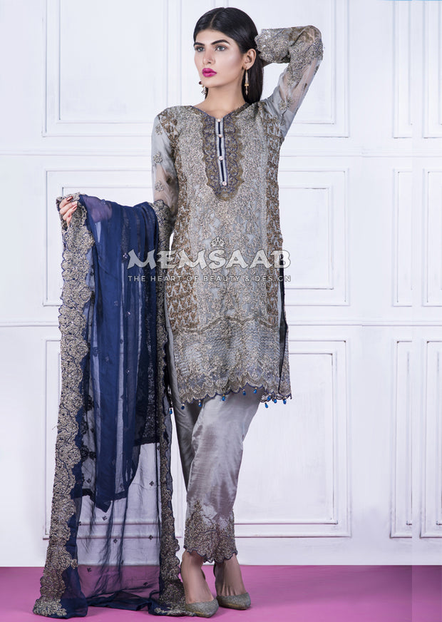 1477 - Readymade - Grey - Chiffon Partywear Embroidered Designer Suit - Memsaab - Memsaab Online