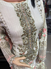 1493 Readymade White Fancy Embroidered Chiffon Suit by Passion - Memsaab Online