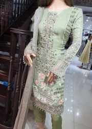 1493 Readymade Green Fancy Embroidered Chiffon Suit by Passion - Memsaab Online