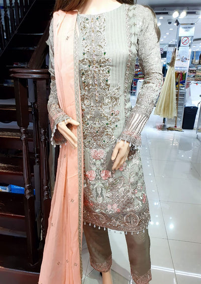1493 Readymade Grey Fancy Embroidered Chiffon Suit by Passion - Memsaab Online