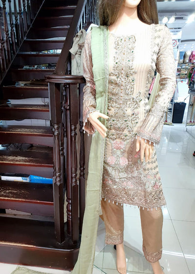 1493 Readymade Peach Fancy Embroidered Chiffon Suit by Passion - Memsaab Online