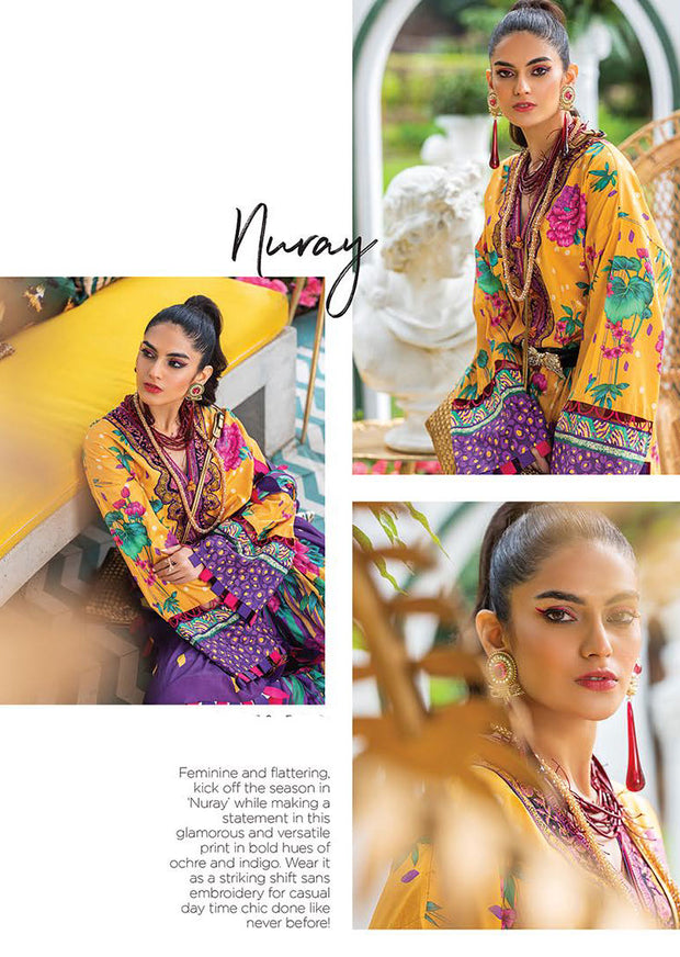 NURAY - Unstitched Embroidered Designer Zaha Lawn - Memsaab Online