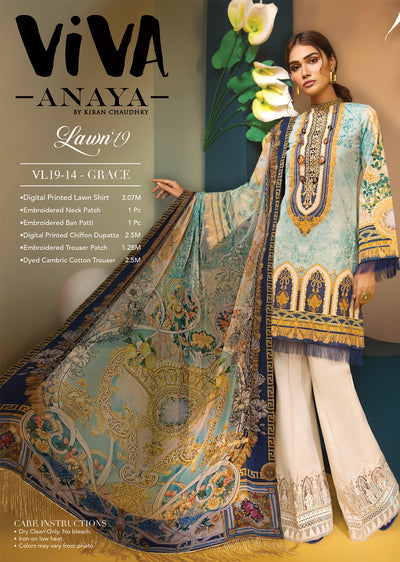 GRACE - VIVA - Anaya by Kiran Chaudhry - Unstitched Pakistani Embroidered Lawn Collection - Lowest Price UK - Memsaab Online