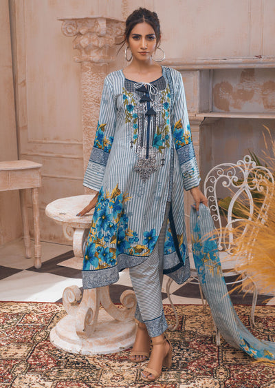 AMT20019 - Readymade Grey Embroidered Lawn Dress - Memsaab Online