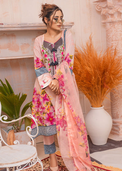 AMT20008 - Readymade Pink Embroidered Lawn Dress - Memsaab Online