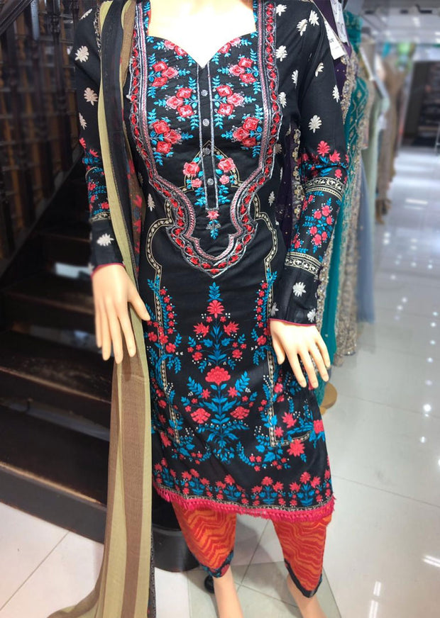 AMT11007 Black Readymade Embroidered Lawn Suit - Memsaab Online