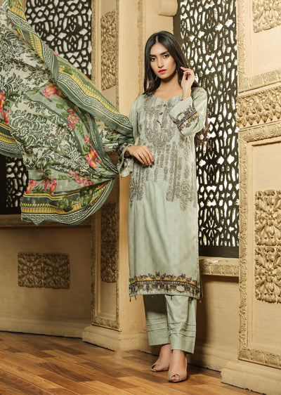 14 Ubrooj by Memsaab - Beige - Pakistani Readymade Embroidered Lawn Suits - Memsaab Online