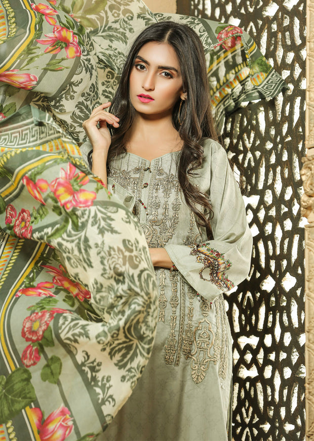 14B Ubrooj - Beige - Unstitched Embroidered High Quality Lawn Suit - Memsaab Online