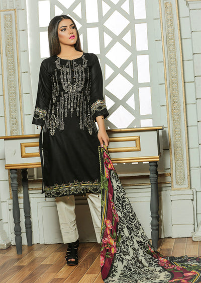 14A Ubrooj - Black - Unstitched Embroidered High Quality Lawn Suit - Memsaab Online