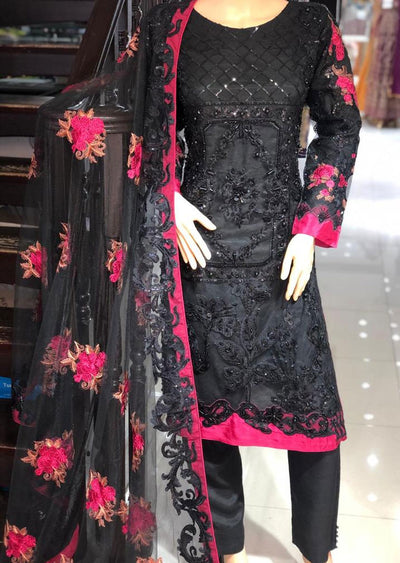 PS1552 Passion - Readymade Black Net Suit - Memsaab Online