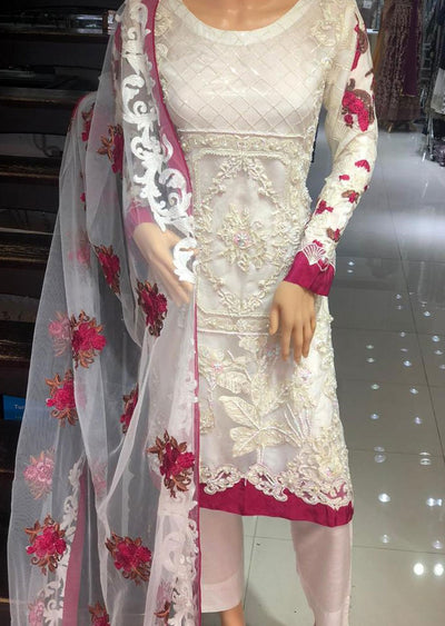 PS1552 Passion - Readymade White Net Suit - Memsaab Online