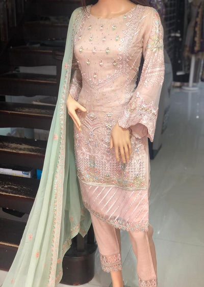 PS1580 Passion - Readymade Peach Chiffon Suit - Memsaab Online