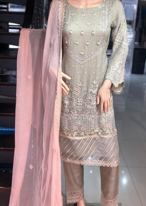 PS1580 Passion - Readymade Skin Chiffon Suit - Memsaab Online
