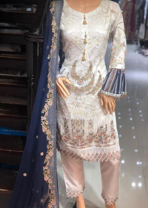 PS1591 Passion - Readymade White Chiffon Suit - Memsaab Online
