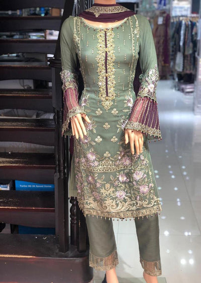 PS1593 Passion - Readymade Green Chiffon Suit - Memsaab Online