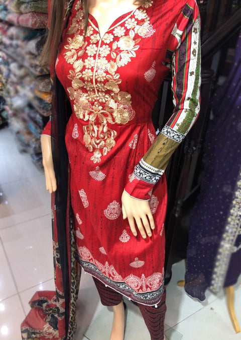 AMT1920 Red Readymade Embroidered Lawn Dress - Memsaab Online
