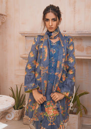 AMT20003 - Grey Readymade Embroidered Lawn Suit - Memsaab Online
