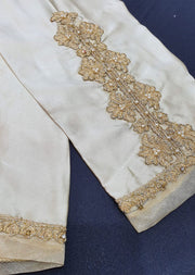 DXTS03 Cream Silk Embroidered Trouser - Memsaab Online