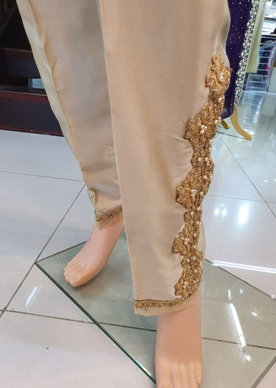 DXTS03 Gold Silk Embroidered Trouser - Memsaab Online