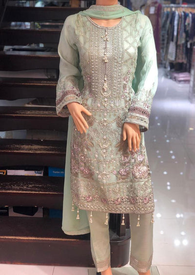 PS1601 Passion - Readymade Mint Chiffon Suit - Memsaab Online