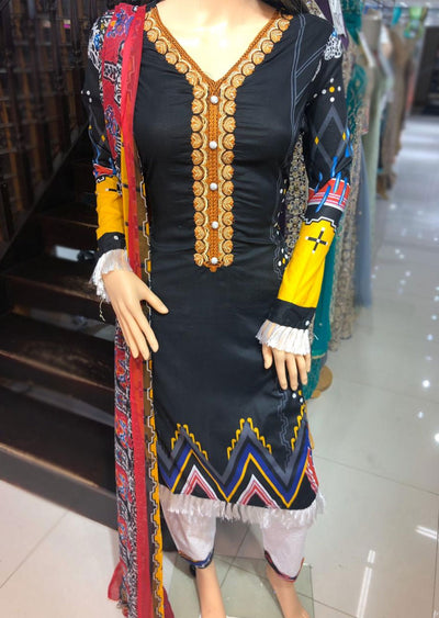 AMT11008 Black Readymade Embroidered Lawn Suit - Memsaab Online