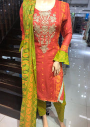 AMT1917 Peach Readymade Embroidered Lawn Suit - Memsaab Online