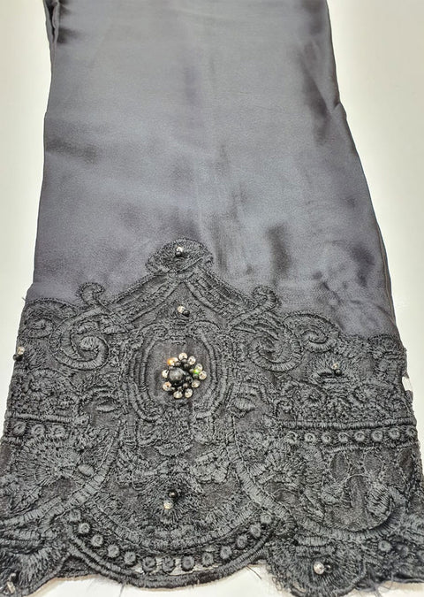DXTS02 Black Silk Embroidered Trouser - Memsaab Online