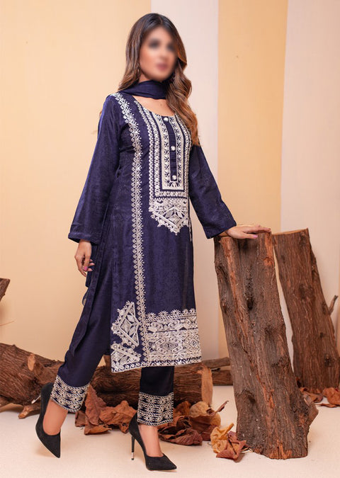 HK44 Navy Embroidered Viscose Suit - Memsaab Online