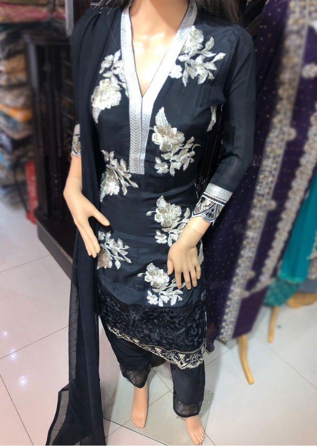 SD10 Readymade Black Linen Embroidered Suit - Memsaab Online