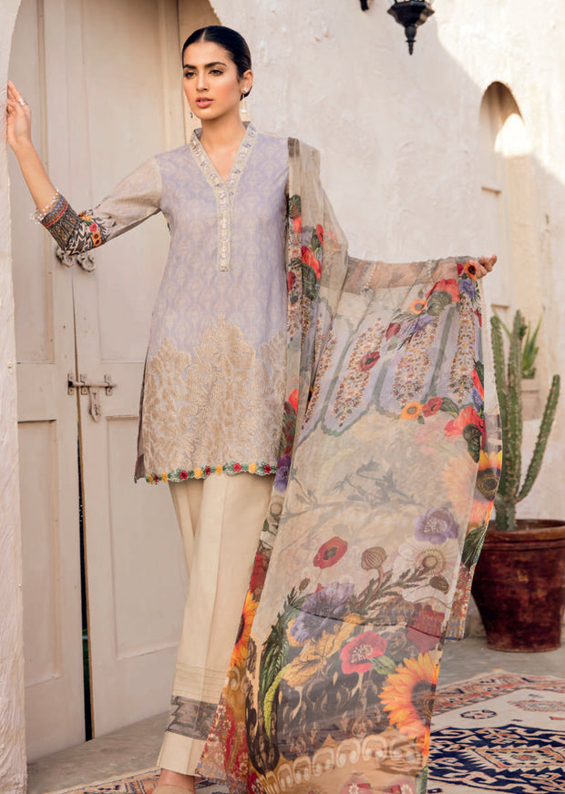 01 - IZNIK CHINON LAWN SUIT - UNSTITCHED - PAKISTANI DESIGNER EMBROIDERED - Memsaab Online