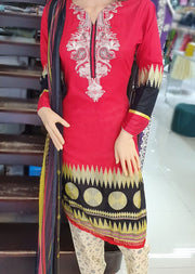 AMT1902 Red Readymade Embroidered Lawn Suit - Memsaab Online