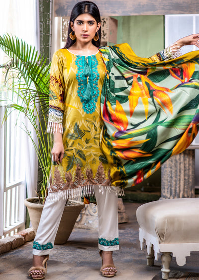 Readymade - Embroidered Linen Wool Shawl Collection 2019 - Memsaab Online