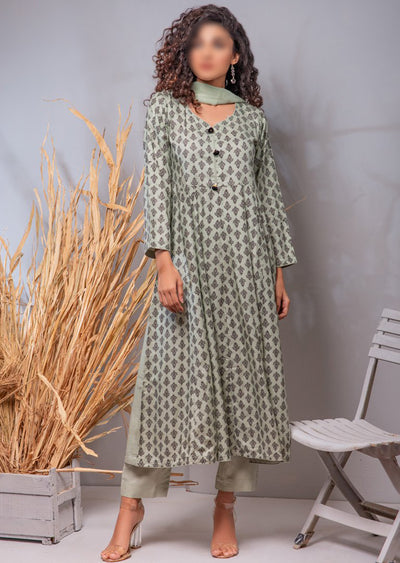 HK18 Readymade Mint Printed Dress - Memsaab Online
