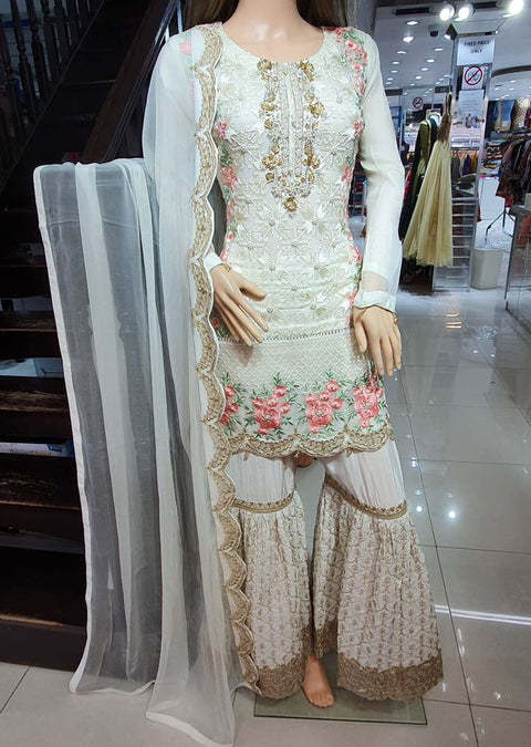 ZN31 Readymade Cream Chiffon Shararah Suit - Memsaab Online