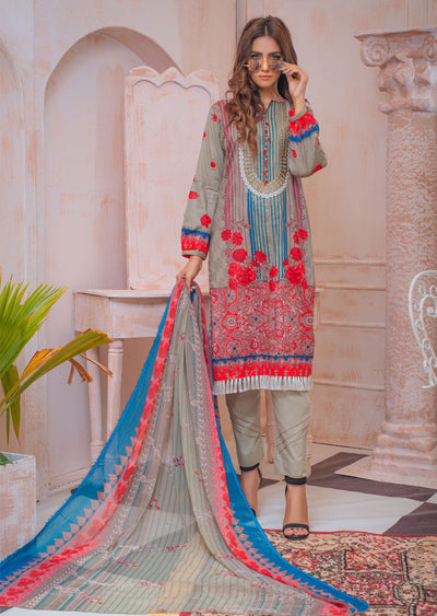 AMT20027 - Readymade Embroidered Lawn Suit - Memsaab Online