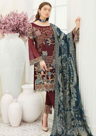 F1901 - Unstitched Ramsha Luxury Chiffon Collection Vol 19 - Memsaab Online