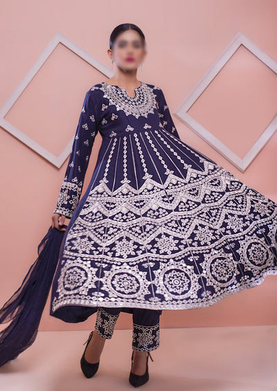 HK39 Navy Linen Mirror Long Dress - Memsaab Online