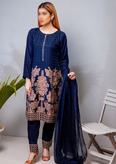 HK07 Readymade Navy Embroidered Linen Suit - Memsaab Online