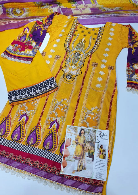 FHD01R Readymade Iznik Inspired Linen Embroidered Suit - Memsaab Online
