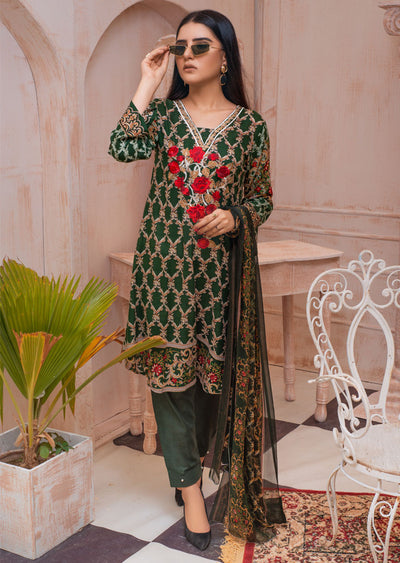 AMT20014 - Readymade Green Embroidered Lawn Dress - Memsaab Online