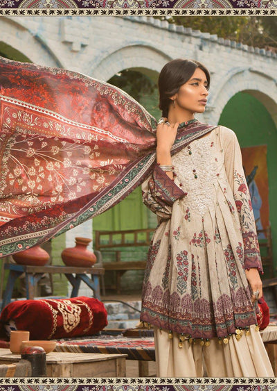 1B Maria B M Prints Unstitched 2019 - Pakistani Designer Embroidered Lawn Suit Spring / Summer UK DELIVERY - Memsaab Online