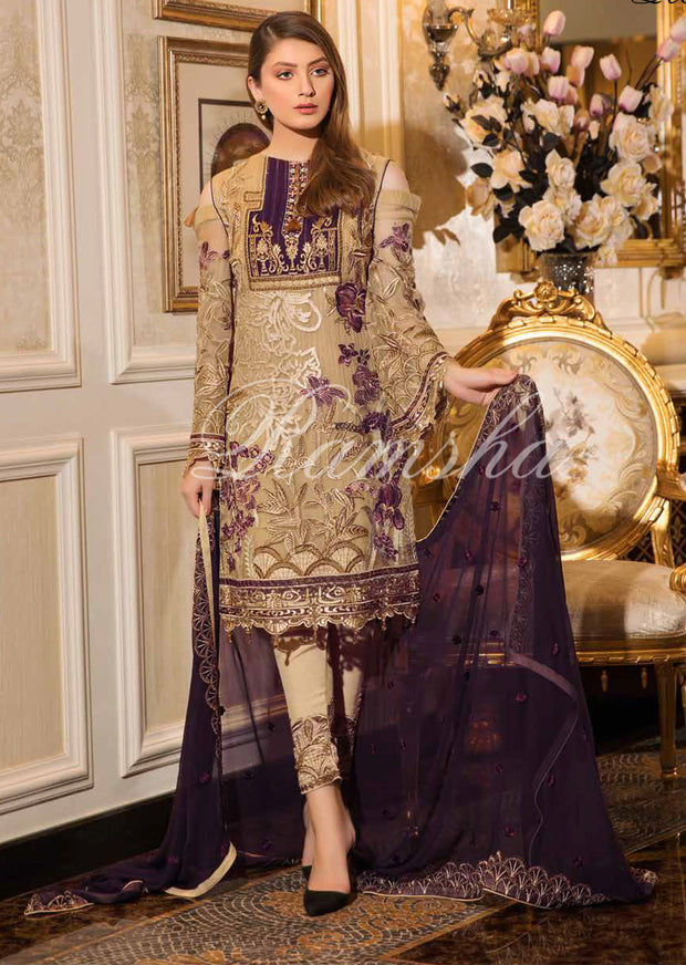 F - 1601 Ramsha Vol 16 - Readymade Eid Embroidered Chiffon Collection 2019 Pakistani Designer wear - Memsaab Online